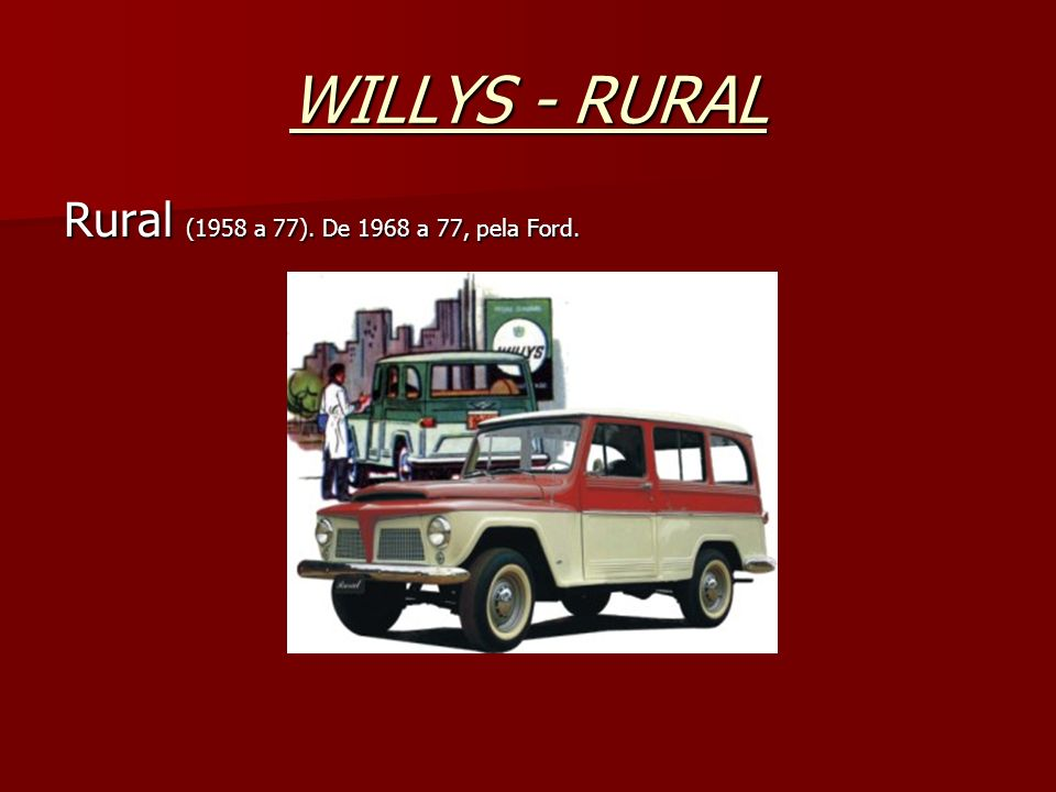 WILLYS - RURAL Rural (1958 a 77). De 1968 a 77, pela Ford.