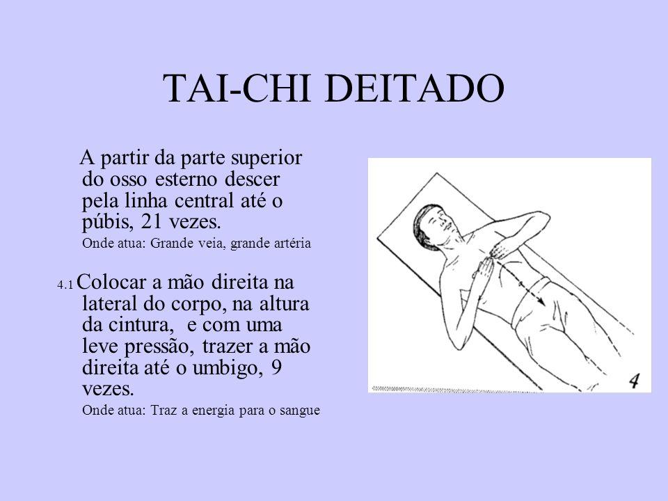 TAI-CHI DEITADO A partir da parte superior do osso esterno descer pela linha central até o púbis, 21 vezes.