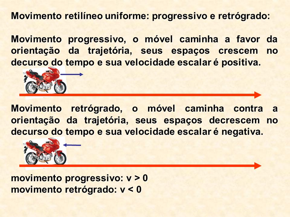 Movimento retilíneo uniforme: progressivo e retrógrado: