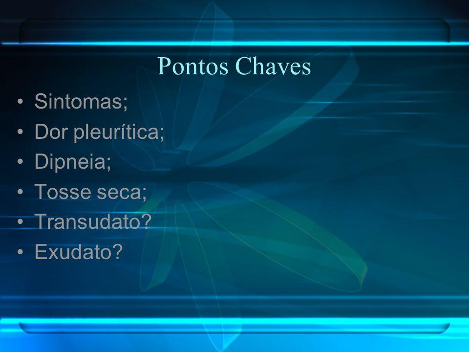 Pontos Chaves Sintomas; Dor pleurítica; Dipneia; Tosse seca;