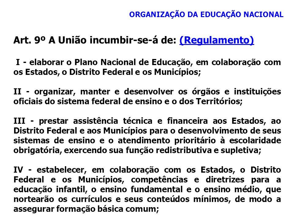Art. 9º A União incumbir-se-á de: (Regulamento)