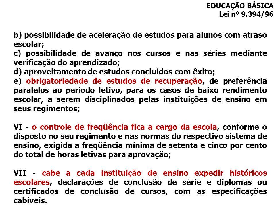d) aproveitamento de estudos concluídos com êxito;
