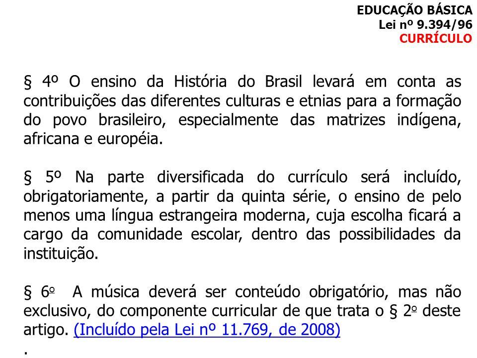 EDUCAÇÃO BÁSICA Lei nº 9.394/96. CURRÍCULO.