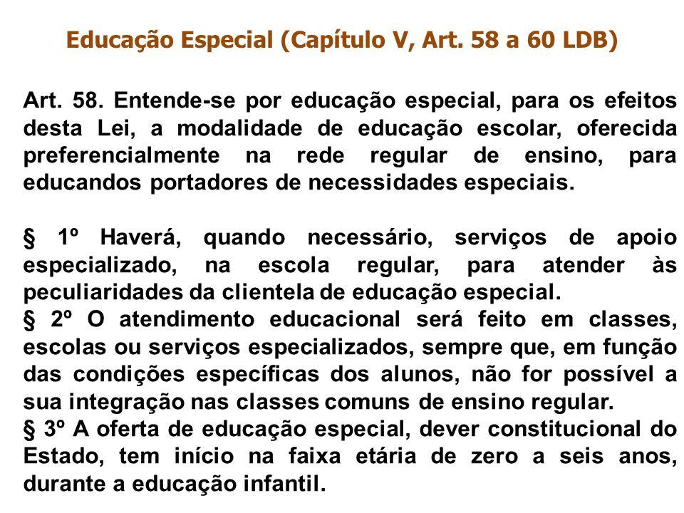 Educação Especial (Capítulo V, Art. 58 a 60 LDB)