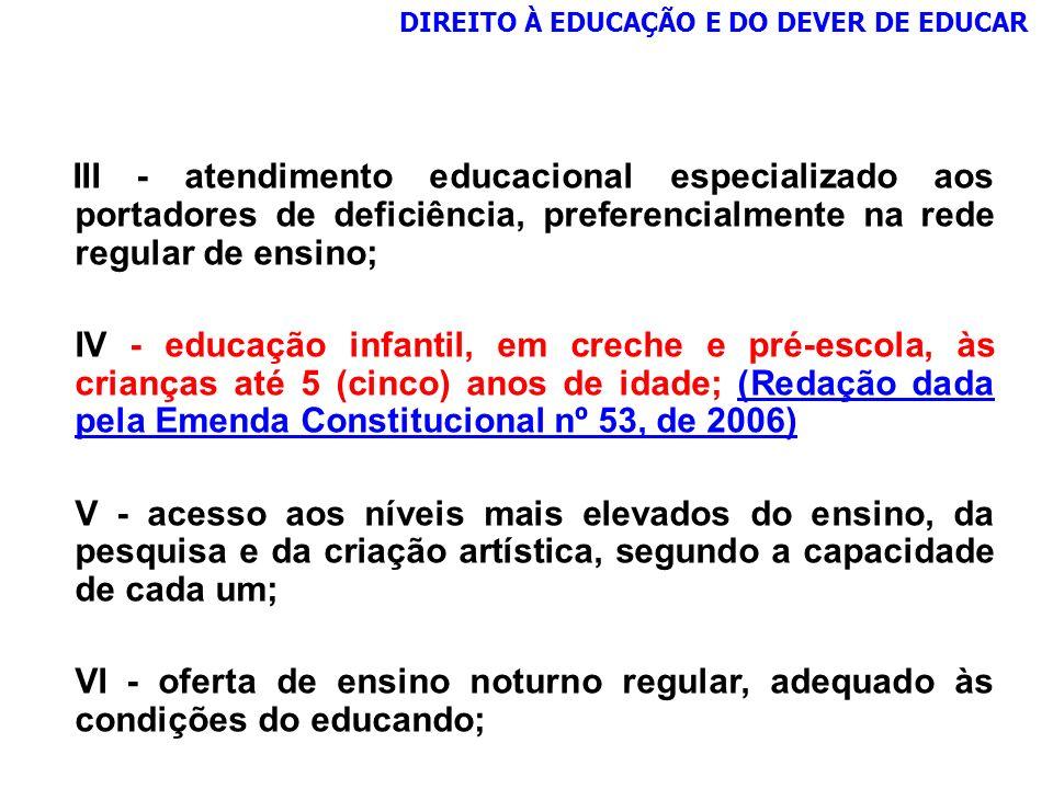 DIREITO À EDUCAÇÃO E DO DEVER DE EDUCAR