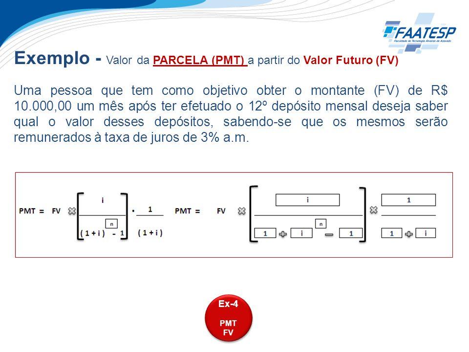 Exemplo - Valor da PARCELA (PMT) a partir do Valor Futuro (FV)