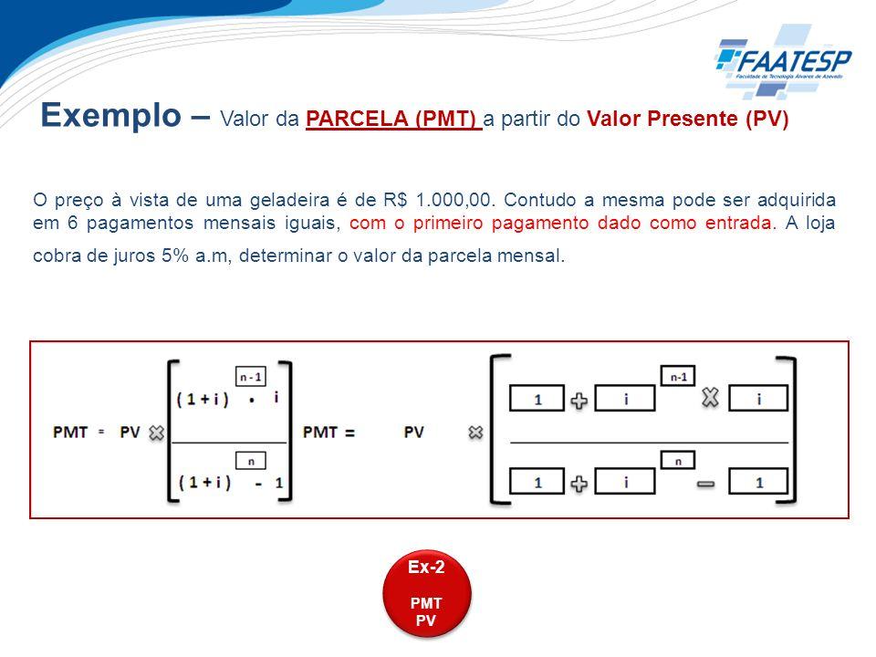 Exemplo – Valor da PARCELA (PMT) a partir do Valor Presente (PV)