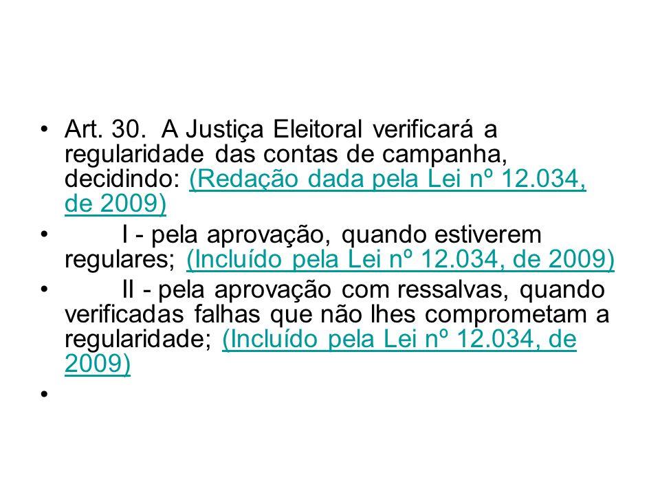 Art. 30. A Justiça Eleitoral verificará a regularidade das contas de campanha, decidindo: (Redação dada pela Lei nº 12.034, de 2009)