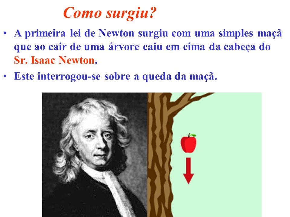 Como surgiu A primeira lei de Newton surgiu com uma simples maçã que ao cair de uma árvore caiu em cima da cabeça do Sr. Isaac Newton.