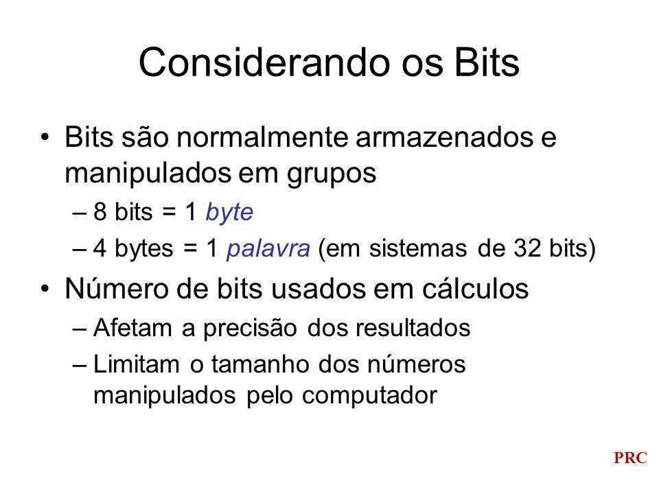 Considerando os Bits Bits são normalmente armazenados e manipulados em grupos. 8 bits = 1 byte. 4 bytes = 1 palavra (em sistemas de 32 bits)