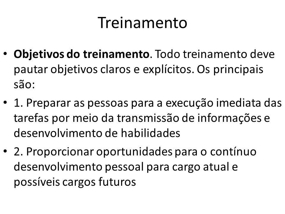 Treinamento Objetivos do treinamento. Todo treinamento deve pautar objetivos claros e explícitos. Os principais são: