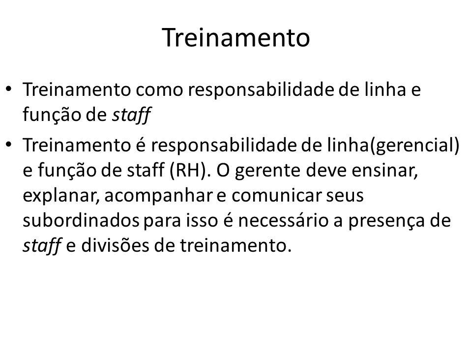 Treinamento Treinamento como responsabilidade de linha e função de staff.