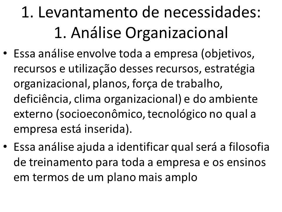 1. Levantamento de necessidades: 1. Análise Organizacional