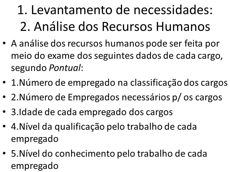 1. Levantamento de necessidades: 2. Análise dos Recursos Humanos