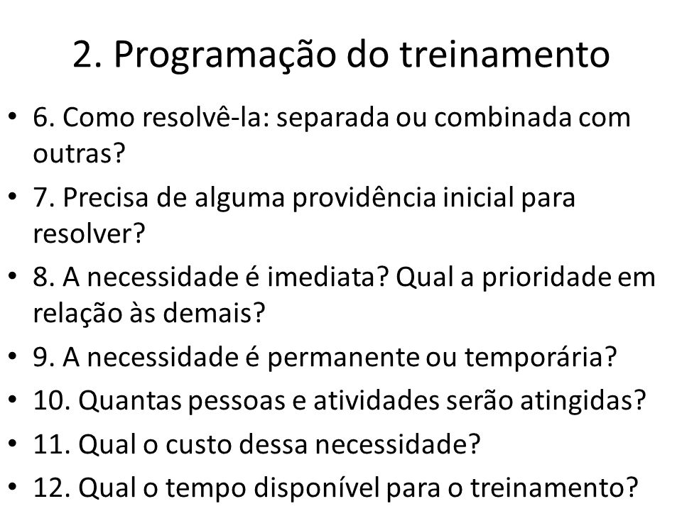 2. Programação do treinamento