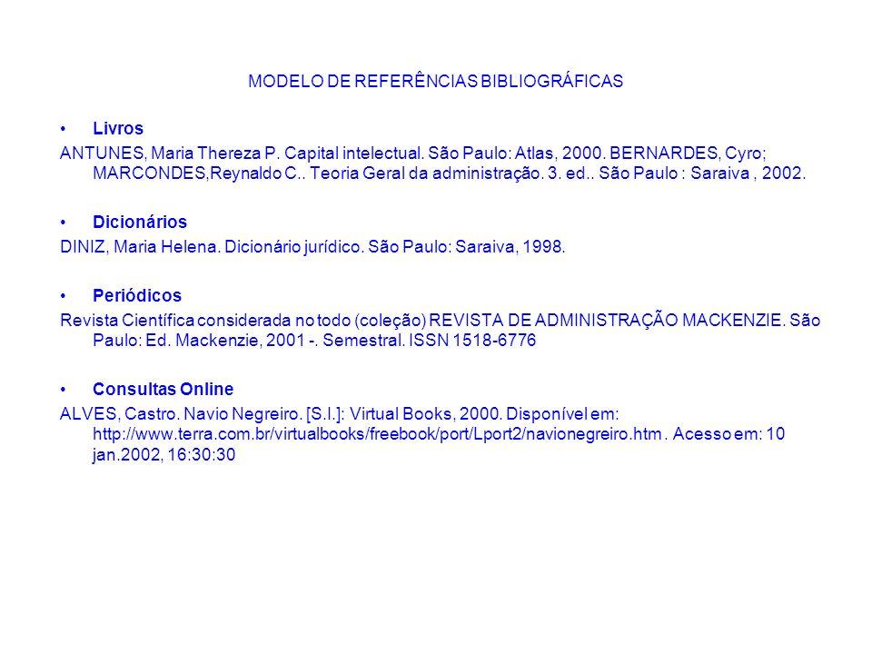 MODELO DE REFERÊNCIAS BIBLIOGRÁFICAS