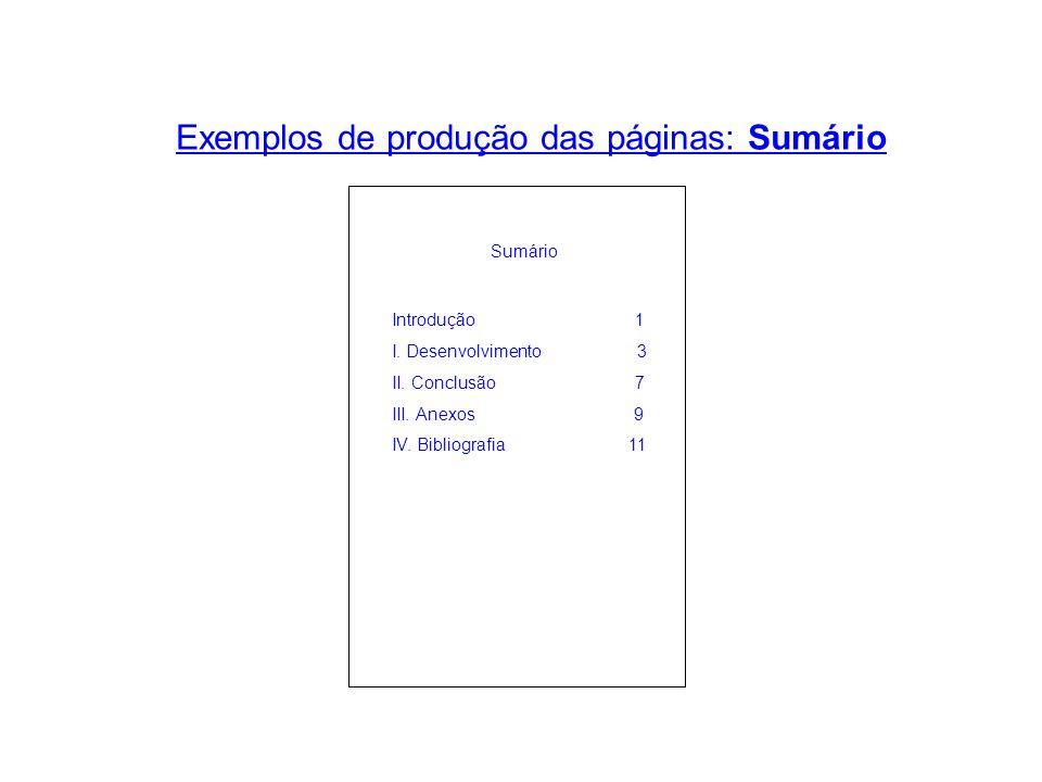 Exemplos de produção das páginas: Sumário