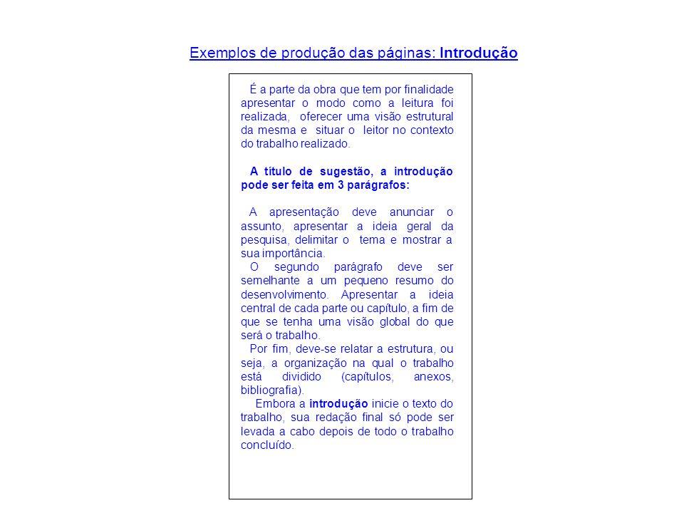 Exemplos de produção das páginas: Introdução