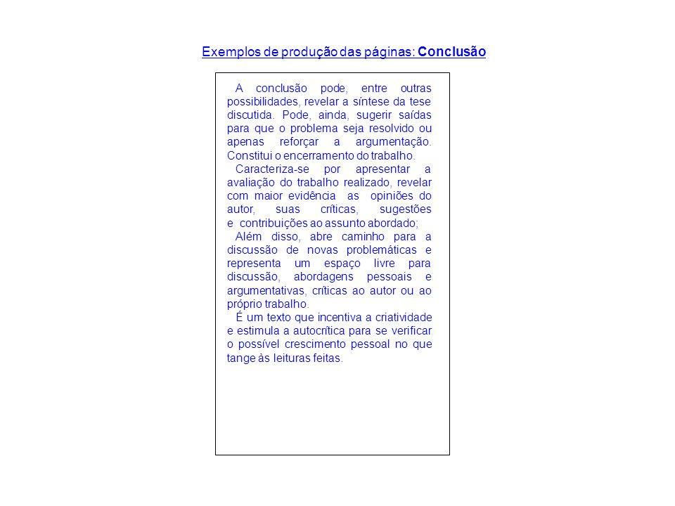 Exemplos de produção das páginas: Conclusão