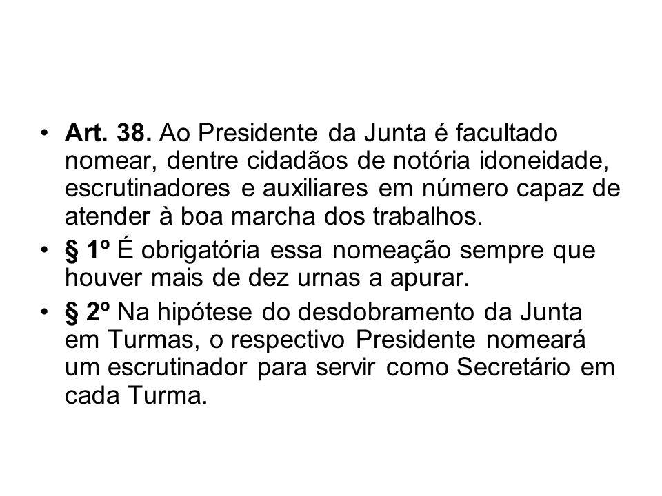 Art. 38. Ao Presidente da Junta é facultado nomear, dentre cidadãos de notória idoneidade, escrutinadores e auxiliares em número capaz de atender à boa marcha dos trabalhos.
