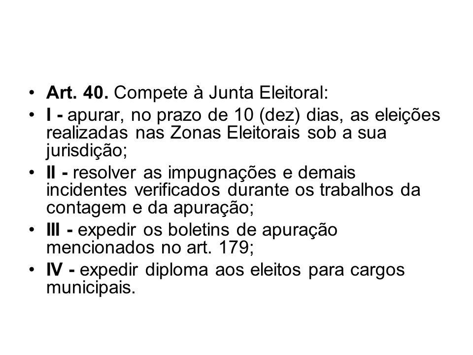 Art. 40. Compete à Junta Eleitoral: