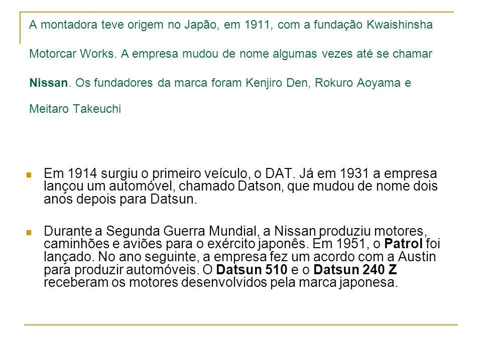 A montadora teve origem no Japão, em 1911, com a fundação Kwaishinsha Motorcar Works. A empresa mudou de nome algumas vezes até se chamar Nissan. Os fundadores da marca foram Kenjiro Den, Rokuro Aoyama e Meitaro Takeuchi
