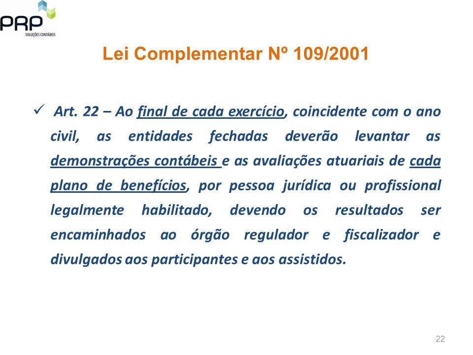 Lei Complementar Nº 109/2001