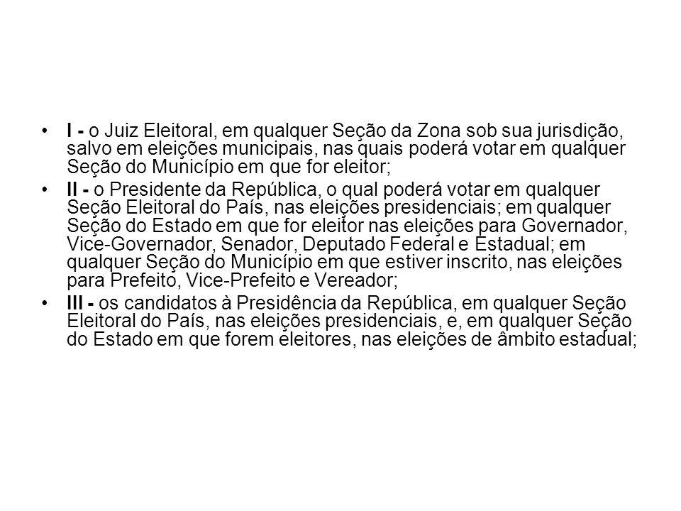 I - o Juiz Eleitoral, em qualquer Seção da Zona sob sua jurisdição, salvo em eleições municipais, nas quais poderá votar em qualquer Seção do Município em que for eleitor;