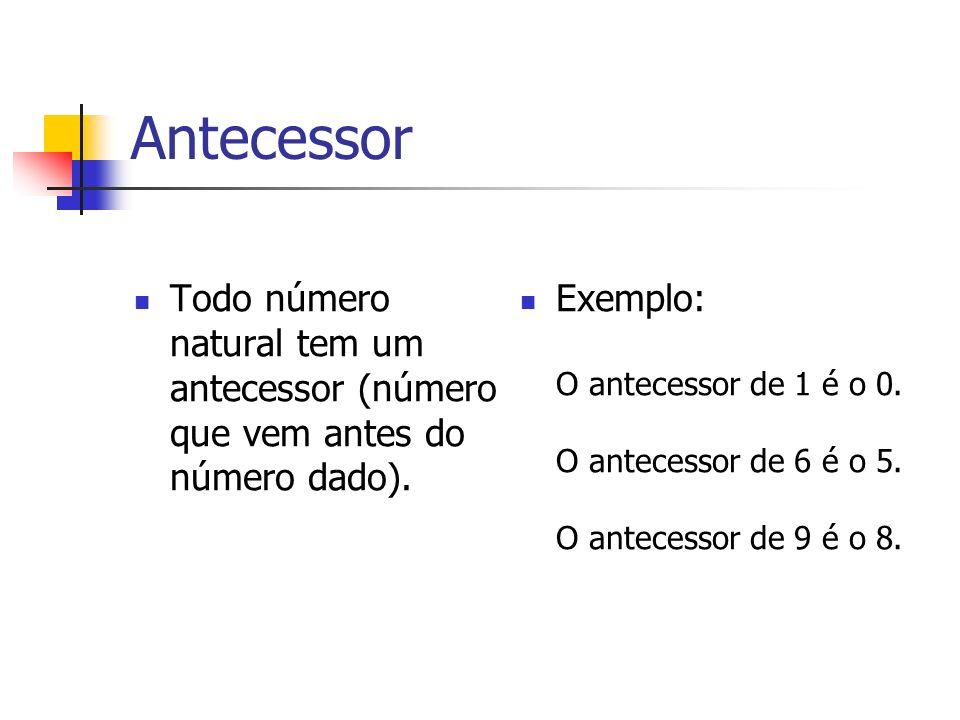Antecessor Todo número natural tem um antecessor (número que vem antes do número dado).