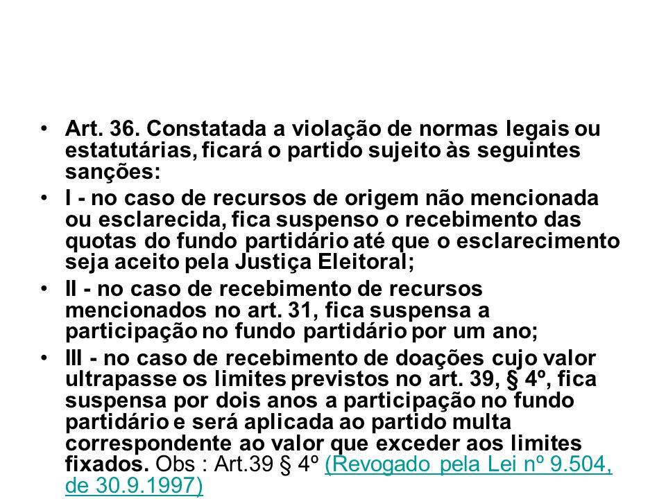 Art. 36. Constatada a violação de normas legais ou estatutárias, ficará o partido sujeito às seguintes sanções: