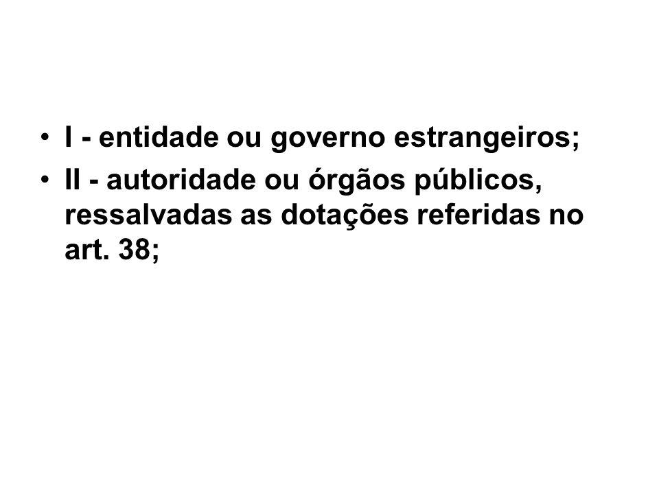 I - entidade ou governo estrangeiros;