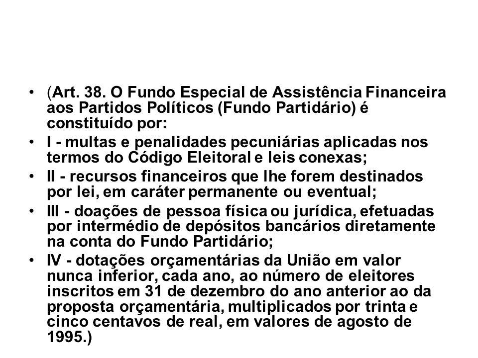 (Art. 38. O Fundo Especial de Assistência Financeira aos Partidos Políticos (Fundo Partidário) é constituído por: