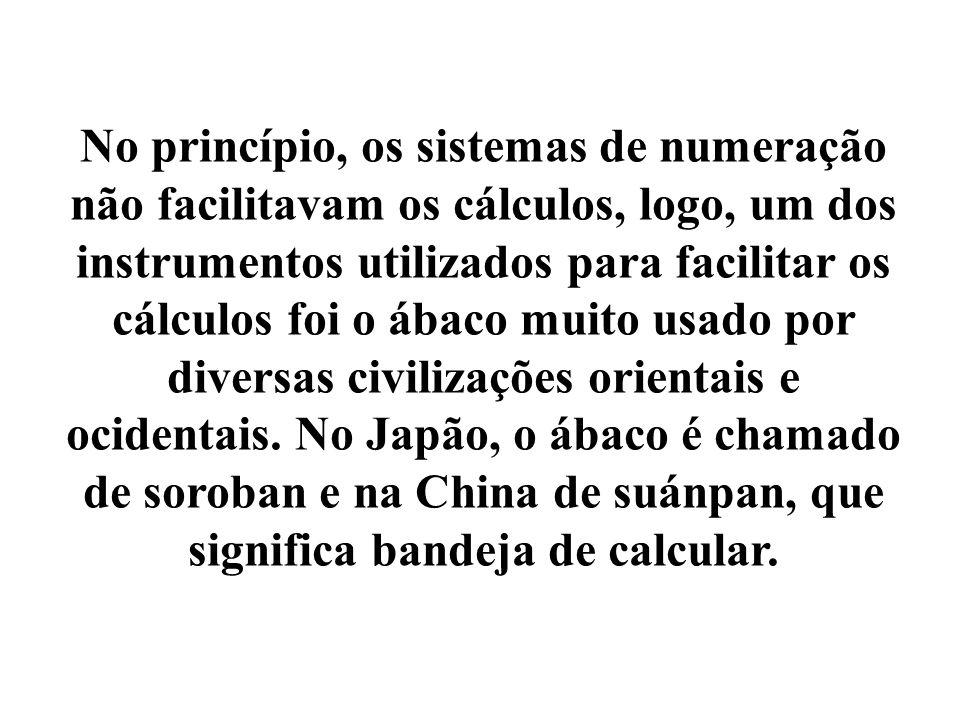 No princípio, os sistemas de numeração não facilitavam os cálculos, logo, um dos instrumentos utilizados para facilitar os cálculos foi o ábaco muito usado por diversas civilizações orientais e ocidentais.