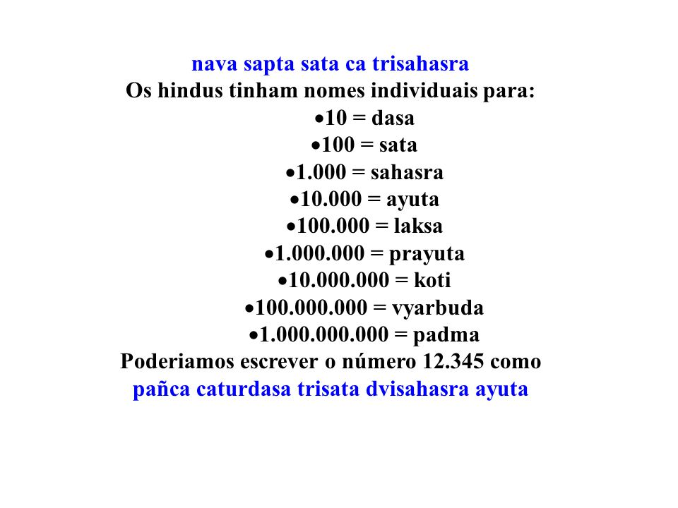 nava sapta sata ca trisahasra Os hindus tinham nomes individuais para:
