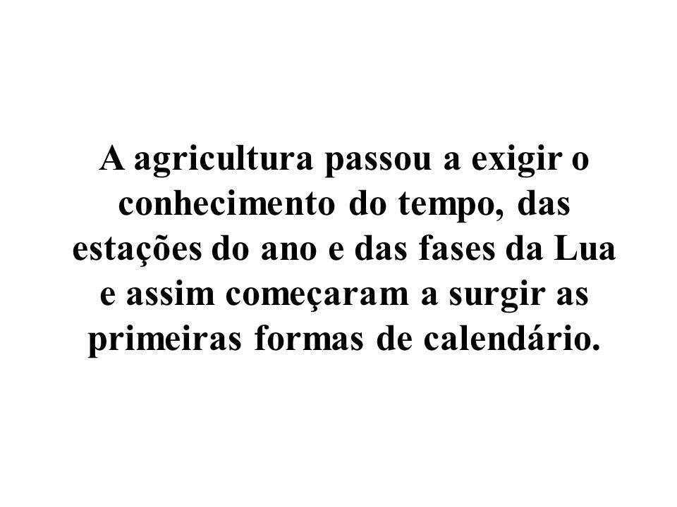 A agricultura passou a exigir o conhecimento do tempo, das estações do ano e das fases da Lua e assim começaram a surgir as primeiras formas de calendário.