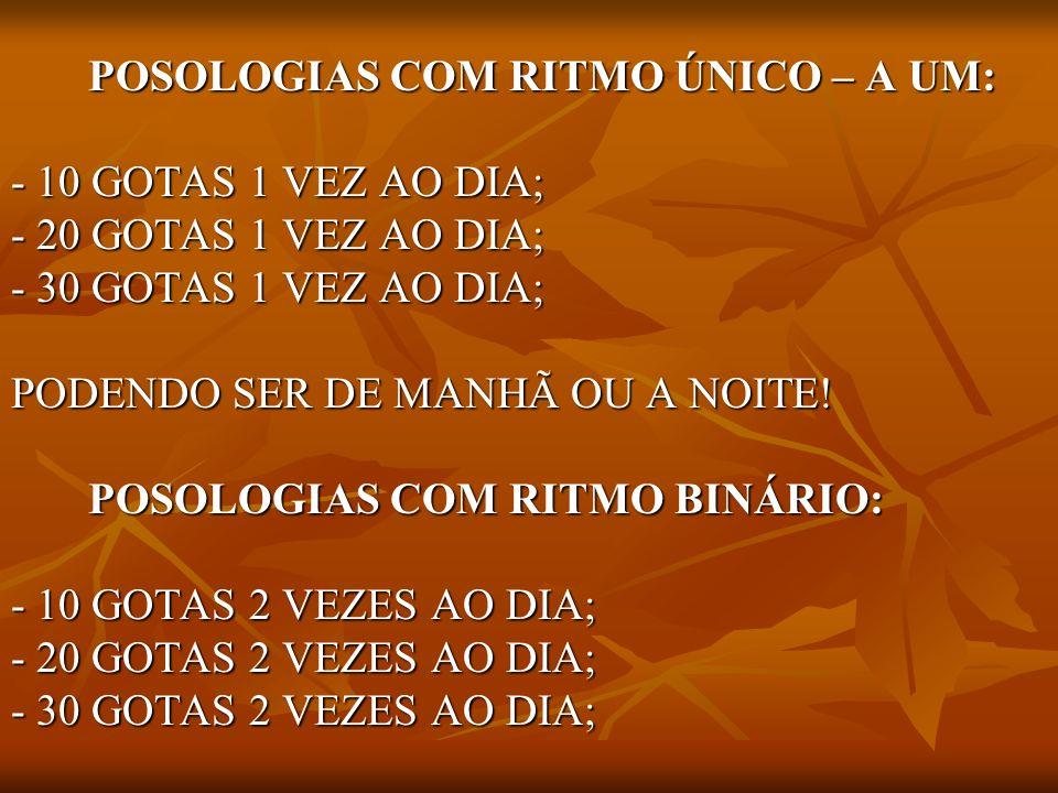 POSOLOGIAS COM RITMO ÚNICO – A UM: