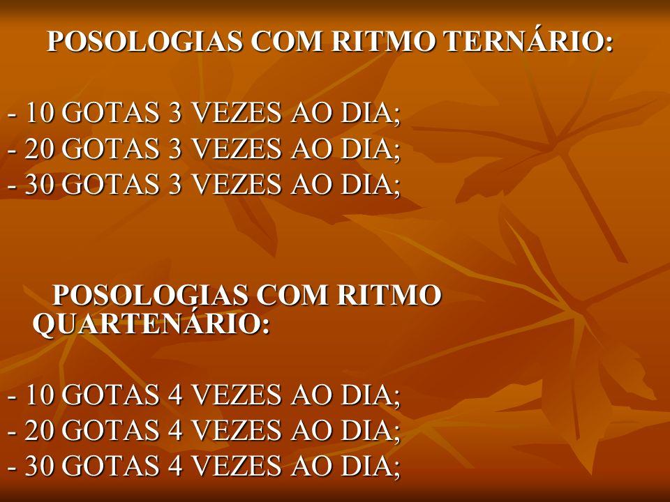 POSOLOGIAS COM RITMO QUARTENÁRIO: