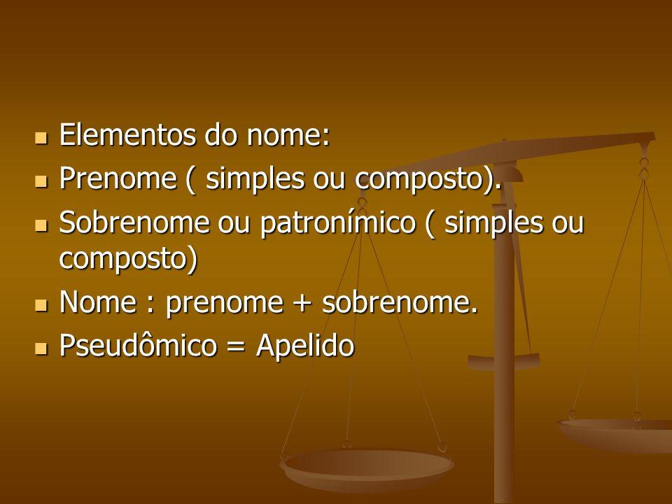 Elementos do nome: Prenome ( simples ou composto). Sobrenome ou patronímico ( simples ou composto)