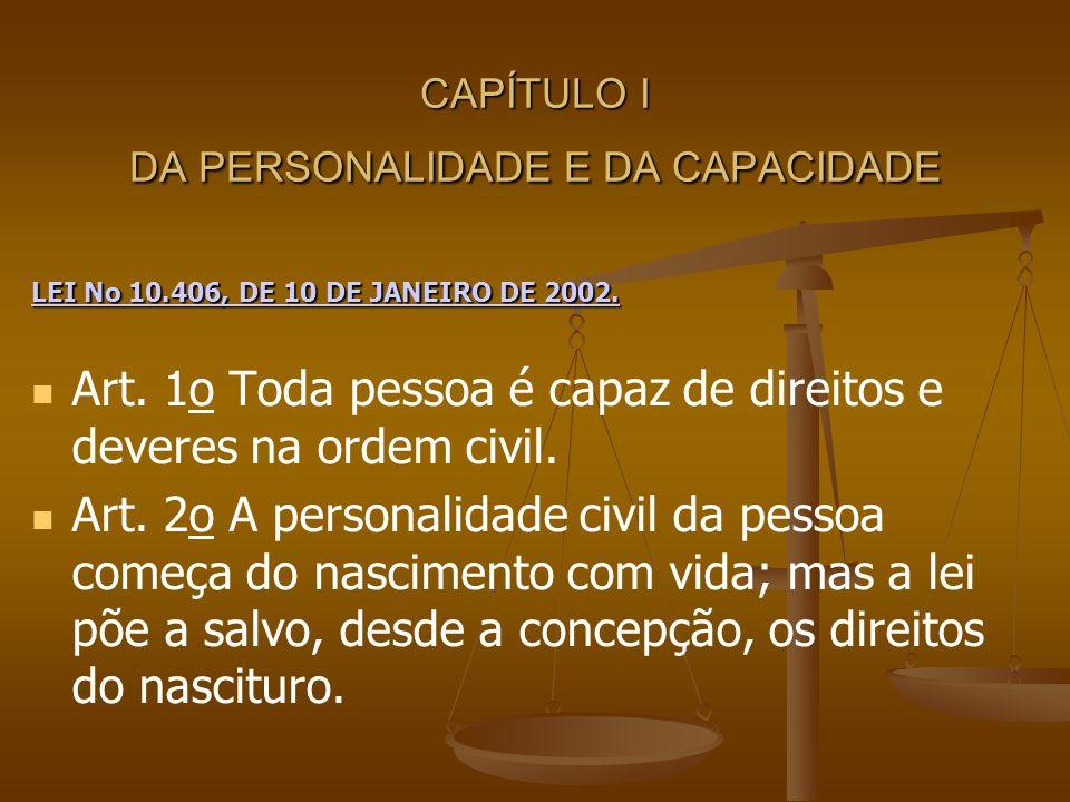 CAPÍTULO I DA PERSONALIDADE E DA CAPACIDADE