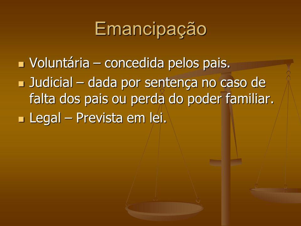 Emancipação Voluntária – concedida pelos pais.