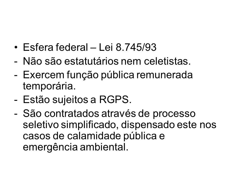 Esfera federal – Lei 8.745/93 Não são estatutários nem celetistas. Exercem função pública remunerada temporária.