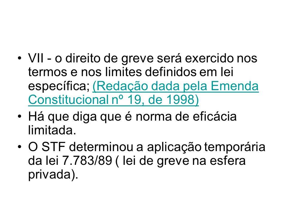 VII - o direito de greve será exercido nos termos e nos limites definidos em lei específica; (Redação dada pela Emenda Constitucional nº 19, de 1998)