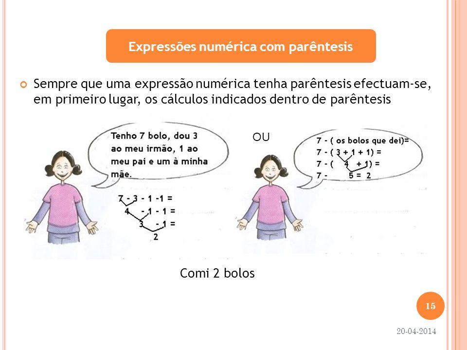 Expressões numérica com parêntesis