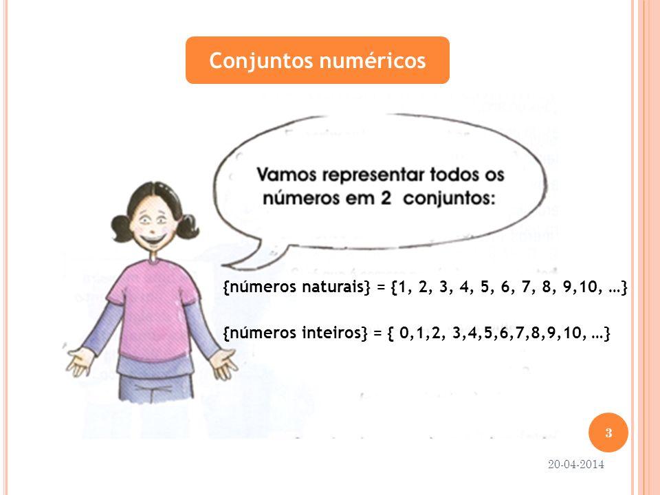 Conjuntos numéricos{números naturais} = {1, 2, 3, 4, 5, 6, 7, 8, 9,10, …} {números inteiros} = { 0,1,2, 3,4,5,6,7,8,9,10, …}