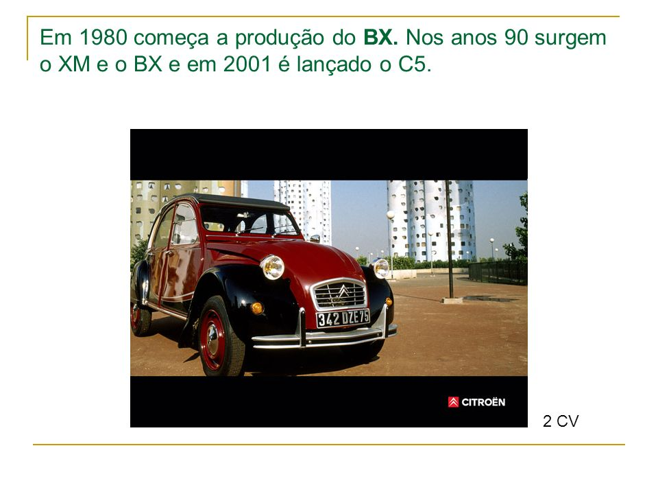 Em 1980 começa a produção do BX