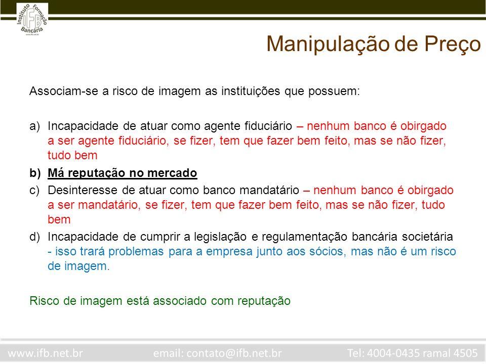 Manipulação de PreçoAssociam-se a risco de imagem as instituições que possuem: