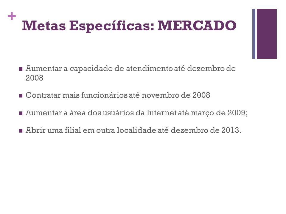 Metas Específicas: MERCADO