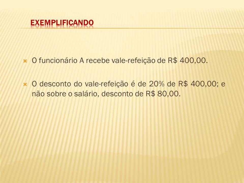 Exemplificando O funcionário A recebe vale-refeição de R$ 400,00.