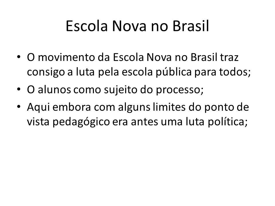 Escola Nova no Brasil O movimento da Escola Nova no Brasil traz consigo a luta pela escola pública para todos;
