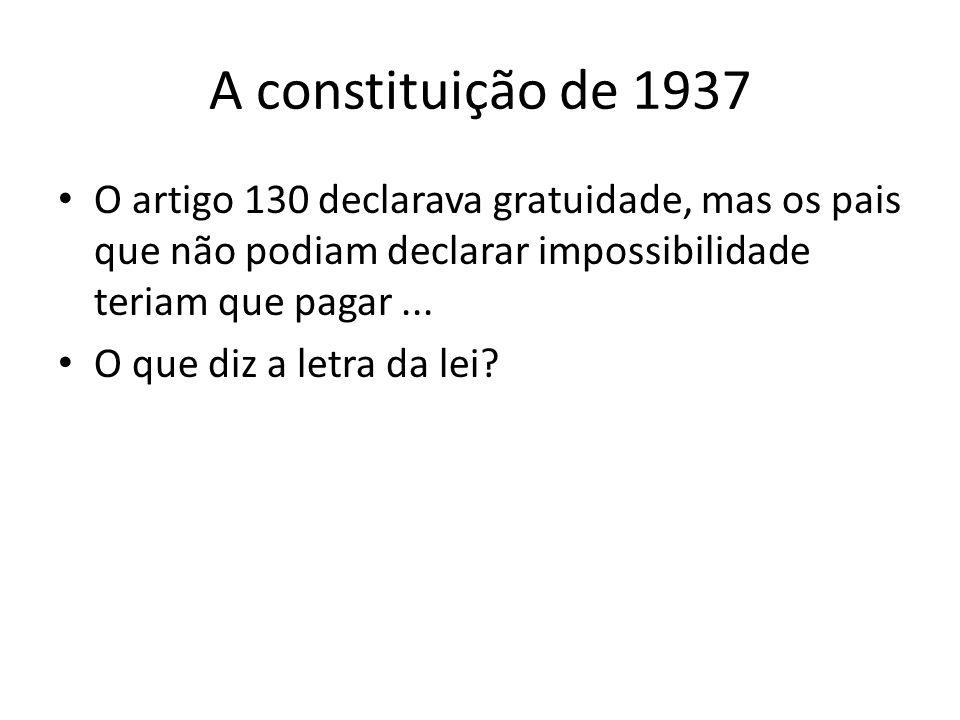 A constituição de 1937 O artigo 130 declarava gratuidade, mas os pais que não podiam declarar impossibilidade teriam que pagar ...